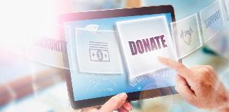 Tablet with someone donating money